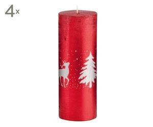 Set de 4 velas Winter, rojo y plata - 19 cm