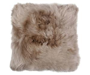Cojín de piel de oveja Shirley, topo - 50x50cm