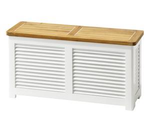 Banco con espacio de almacenaje Sina – blanco y natural
