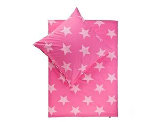 Set de edredón y funda de almohada reversibles Esmy, rosa- cama de 90 cm
