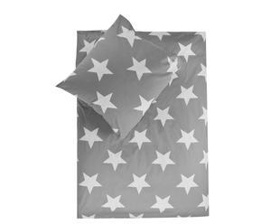 Set de edredón y funda de almohada reversibles Esmy, gris- cama de 90 cm