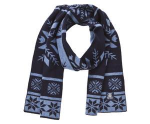 Bufanda de lana Rod, azul marino y azul - 25x180cm