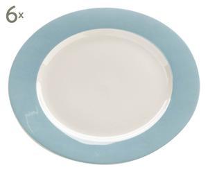 Set de 6 platos de porcelana – azul y blanco