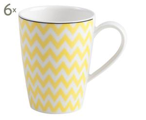 Set de 6 mugs de porcelana Pantone - amarillo