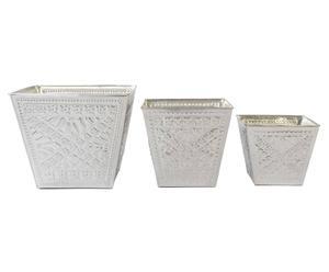 Set de 3 maceteros Vulcano - plata