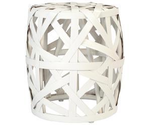 Taburete de ratán y fibra de bambú Minah – blanco