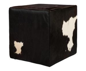 Taburete de DM y cuero de vaca Purnama – blanco y negro
