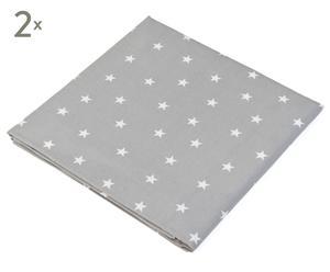 Set de 2 sábanas bajeras Star, gris - 180x200