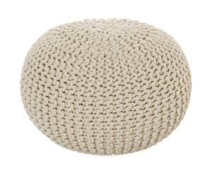 Puf de algodón tejido a mano, marfil - Ø 55