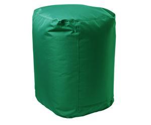Puf cilíndrico en poliéster y PVC, verde oscuro - Ø45