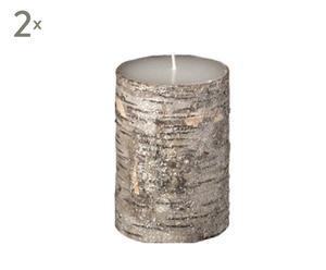 Set de 2 velas brillantes de corteza de abedul – pequeñas
