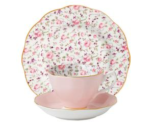 Set de 1 taza de café con platito y 1 plato de postre, porcelana –rosa