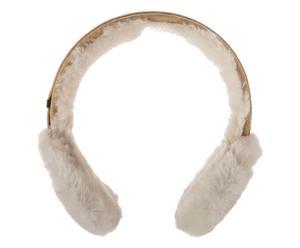 Orejeras / auriculares de piel de oveja y ante - marrón