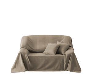 Set de cubre sofá + 2 fundas de cojín color piedra – pequeño