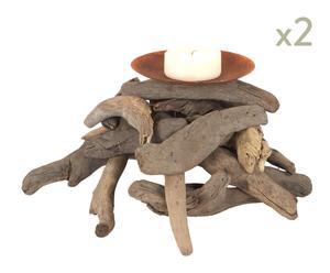 Set de 2 candeleros de madera reflotada - bajo