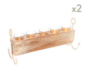Set de 2 candeleros para 5 velas Ancla