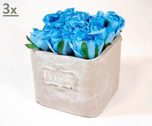 Set de 3 macetas de cerámica con rosas azules
