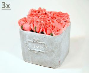 Set de 3 macetas de cerámica con rosas salmón