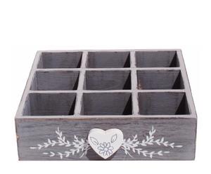 Caja de madera con 9 compartimentos