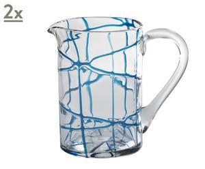 Set de 2 jarras con líneas azules