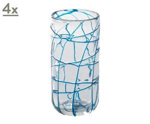 Set de 4 vasos altos con líneas azules