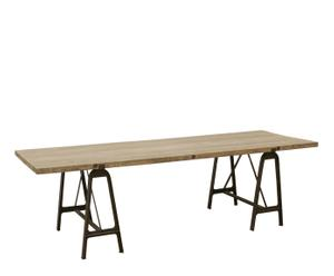Mesa de comedor de madera y hierro