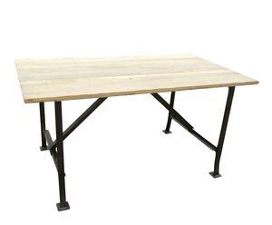 Mesa de comedor en hierro y madera de olmo