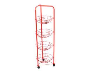 Frutero de metal con ruedas – Rojo