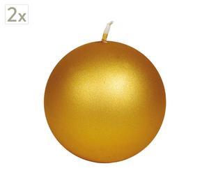Set de 2 Velas esféricas Metal, grande – dorado