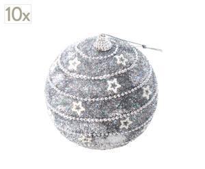 Set de 10 bolas navideñas plateadas - estrellas