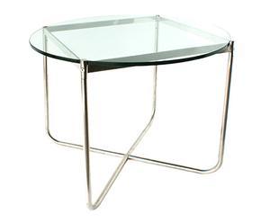 Mesa auxiliar de acero y cristal