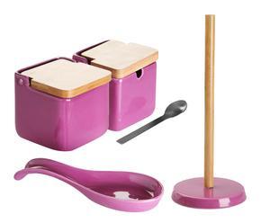 Set de salero, azucarero, reposacucharas y portarrollos Basic – violeta