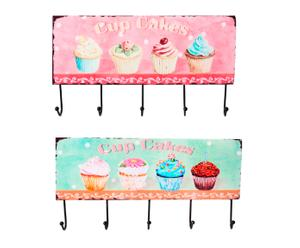 Set de 2 percheros Cupcakes