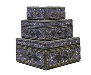 Set de 3 cajas – marrón y azul