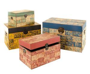Set de 4 baúles de madera Matrículas