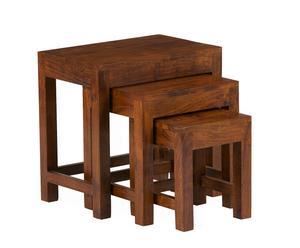 Juego de mesas rústico – madera oscura