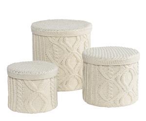 Set de 3 cajas de punto - Blanco