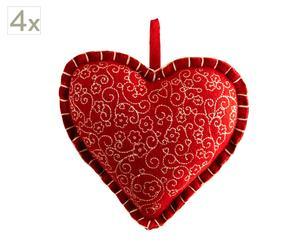 Set de 4 corazones de fieltro