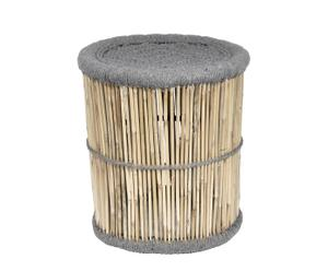Taburete Redondo de bambú y lana