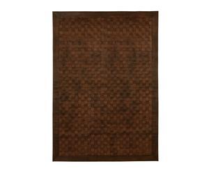 Alfombra trenzada de piel - marrón