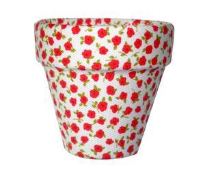 Maceta forrada de tela con estampado floral blanco y rojo - pequeña
