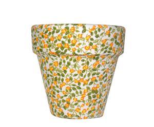 Maceta forrada de tela con estampado floral verde y naranja - pequeña