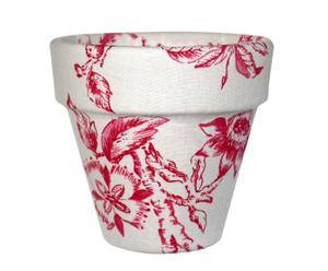Macet forrada de tela con estampado floral blanco y burdeos - pequeña