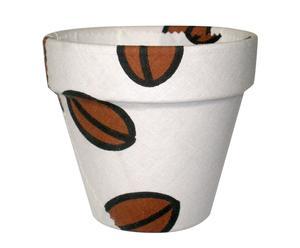 Maceta forrada de tela con diseño grano de café - mediana