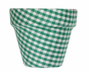Maceta mini forrada de tela con estampado vichy - verde