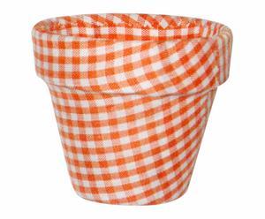 Maceta mini forrada de tela con estampado vichy - naranja