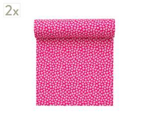 Set de 2 rollos de 20 servilletas de algodón, fucsia - 21x21