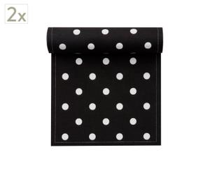 Set de 2 rollos de 20 servilletas de algodón, topo negro - 21x21