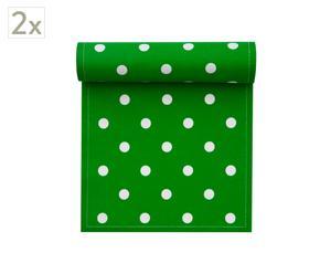 Set de 2 rollos de 20 servilletas de algodón, topo verde - 21x21