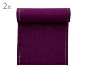 Set de 2 rollos de 12 servilletas de lino, berenjena - 40x40